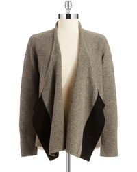 Eileen Fisher Wool Draped Front Cardigan - Lyst