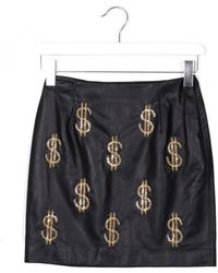 Moschino Leather Black Skirt With Golden Metal Inserts - Lyst