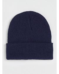 Topman Navy Ribbed Large Beanie - Lyst