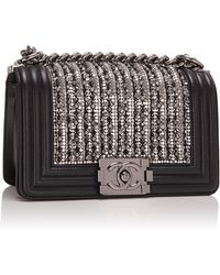 Madison Avenue Couture - Black Lambskin Small Boy Bag With Metallic Glass And Pearl Embroideries - Lyst