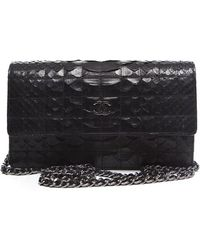 Chanel Pre-Owned Black Python Woc Wallet On Chain - Lyst