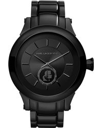 Karl Lagerfeld Unisex Black Ionplated Stainless Steel Bracelet Watch 45mm - Lyst