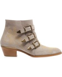 Chloé Susannah Studded Suede Ankle Boots - Lyst
