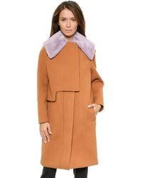 3.1 Phillip Lim Transit Removable Shearling Collar Coat  Caramel - Lyst