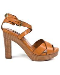 Ralph Lauren Brown Leather Sandals - Lyst
