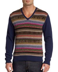 Etro Vneck Intarsia Pullover - Lyst