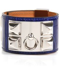 Hermès | Electric Blue Shiny Alligator Collier De Chien Bracelet | Lyst