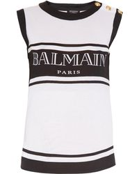 Balmain Logo-Print Cotton-Jersey Tank Top - Lyst