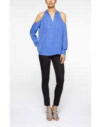 Nicole Miller Cold Shoulder Silk Blouse - Lyst