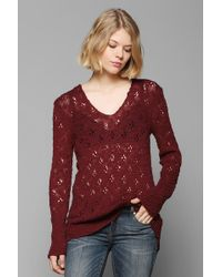 Pins And Needles - Pointelle Deepv Tunic Sweater - Lyst