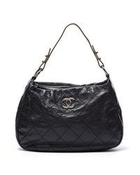 Chanel Preowned Black Calfskin On The Road Hobo Bag - Lyst