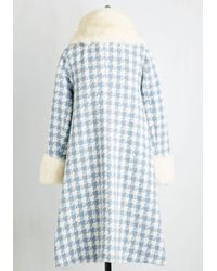Collectif Clothing - Distinguished Quest Coat In Blue Houndstooth - Lyst