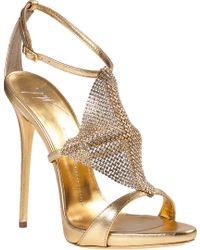Giuseppe Zanotti Crystal Mesh Evening Sandal Gold Leather - Lyst