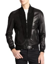 Kent And Curwen Suede Spliced Leather Bomber Jacket - Lyst