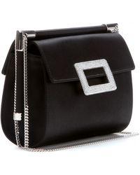 Roger Vivier Miss Viv' Small Satin Shoulder Bag black - Lyst