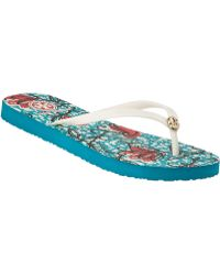 Tory Burch Thin Flip Flop Batik Floral - Lyst