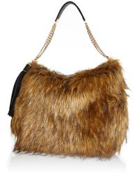 River Island Brown Faux Fur Slouch Bag - Lyst