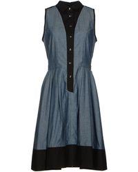 Proenza Schouler Two-Tone Pattern Plain Weave Blue Dress - Lyst