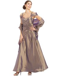 Alex Evenings Cold-Shoulder Pleated Gown And Shawl - Lyst