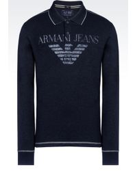 Armani Jeans Polo Shirt In Cotton Jersey With Logo Print - Lyst