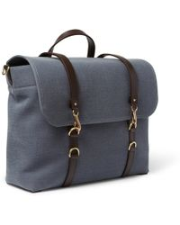 Mismo - Leathertrimmed Canvas Messenger Bag - Lyst