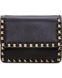 Valentino Black Leather Gold Rockstud Small Shoulder Bag - Lyst