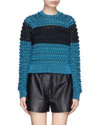Alexander Wang Stripe Wavy Open Knit Sweater - Lyst