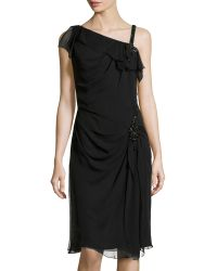 Carolina Herrera Embellished Asymmetric-strap Dress - Lyst
