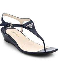 Prada Patent Leather Wedge Thong Sandals - Lyst