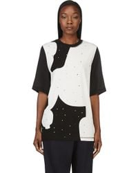 3.1 Phillip Lim Black Silk and Jersey Studded T_shirt - Lyst