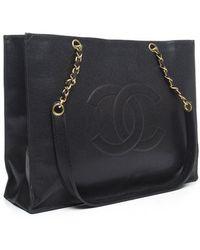 Chanel Pre-owned Black Caviar Cc Xl Shopper Tote Bag - Lyst