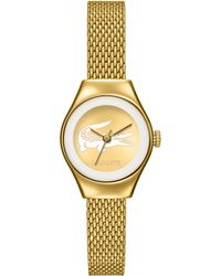 Lacoste Women'S Valencia Gold Ion-Plated Stainless Steel Mesh Bracelet Watch 24Mm 2000876 - Lyst