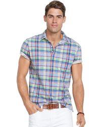 Polo Ralph Lauren Plaid Jersey Polo Shirt - Lyst