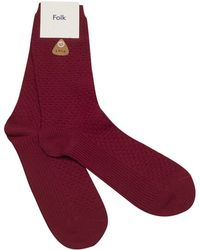 Folk Burgundy Red Waffle-Knit Cotton Socks red - Lyst