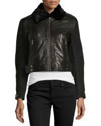 Andrew Marc Naomi Leather Bomber Jacket - Lyst