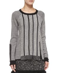 Nanette Lepore Leather-elbow Interwoven Pullover - Lyst