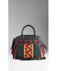 Burberry Medium Tapestry and Leather Bowling Bag - Lyst