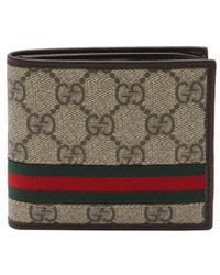 Gucci Beige And Ebony Sima Coated Canvas Bi-Fold Wallet - Lyst