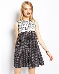 Asos Swing Dress In Spot With Crochet Lace - Lyst