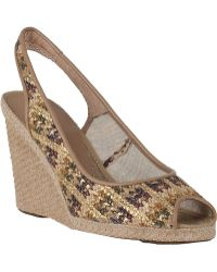 Andre Assous Payton Wedge Espadrille Mustard Multi Fabric - Lyst
