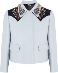 Miu Miu Embellished Crepe Jacket - Lyst