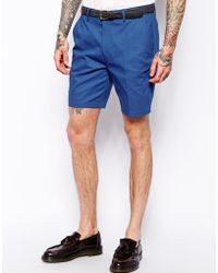 Asos Slim Fit Shorts In Blue - Lyst