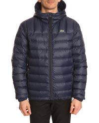 Lacoste Quilted Navy Down Jacket - Lyst