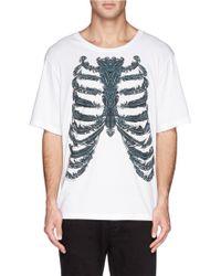 Alexander McQueen Feather Ribcage Print T-Shirt - Lyst