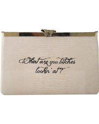 Comes With Baggage Bitches Clutch beige - Lyst