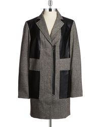 Jones New York Faux Leather Patched Jacket - Lyst