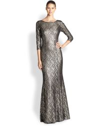 Kay Unger Embroidered Stretch Lace Gown - Lyst