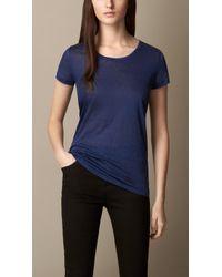 Burberry Linen T-Shirt - Lyst