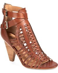 Belle By Sigerson Morrison Fola Leather Caged Sandal brown - Lyst