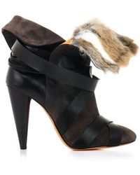 Isabel Marant Neta Furtrimmed Suede Boots - Lyst